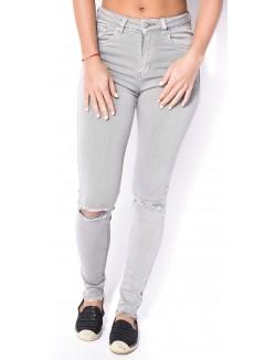 Jeans gris béton taille haute déchiré