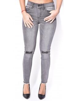 Jeans gris délavé déchiré