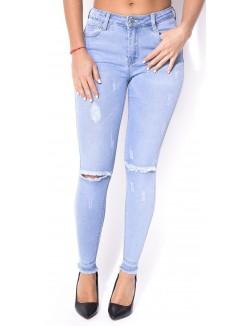 Jeans clair taille haute déchiré