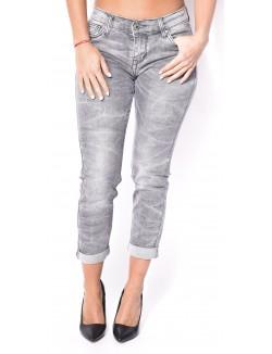 Jeans cigarette gris délavé