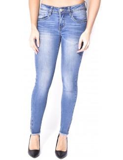 Jeans slim délavé à zips