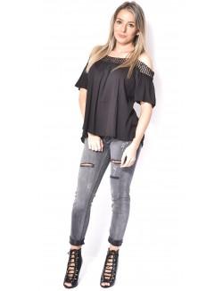 Jeans slim gris délavé destroy