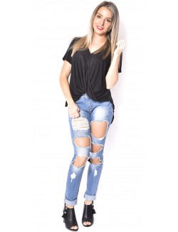 Jeans slim déchiré destroy