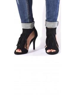 Sandales en suédine ajourées à franges
