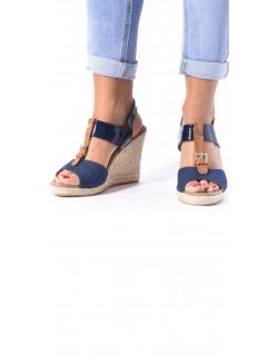 Sandales compensées ajourées bimatière
