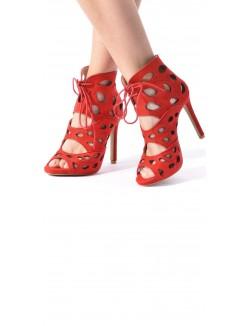 Sandales en suédine ajourées
