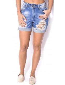 Short en jeans délavé déchiré