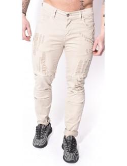 Pantalon chino déchiré à zips