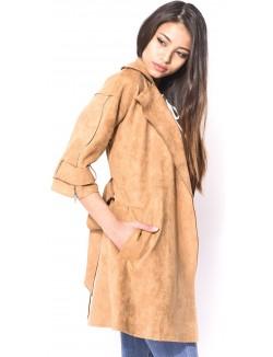 Trench-coat en suédine à zips