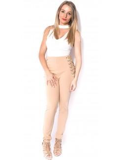 Pantalon taille haute lacé