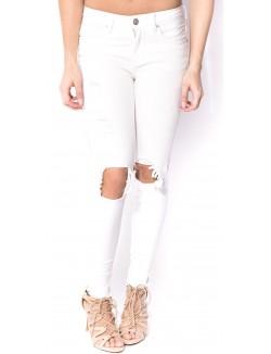 Jeans slim ecru destroy