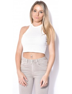 Crop-top basic col montant