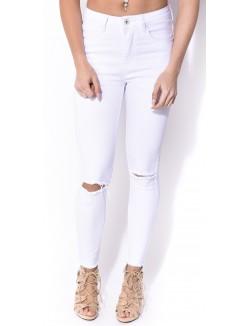 Jeans blanc déchiré destroy