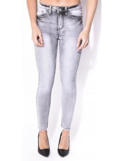 Jeans gris taille haute usé