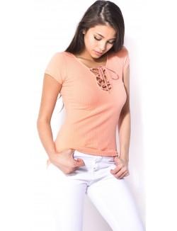 T-shirt côtelé lacé