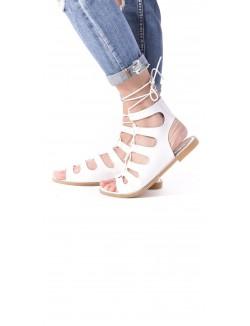 Sandales plates ajourées à lacets