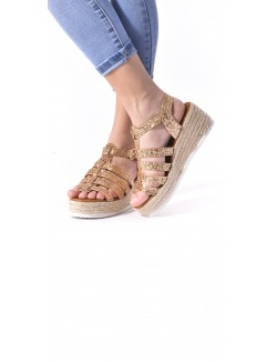Sandales compensées multibrides à paillettes