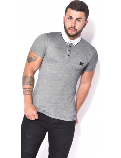 Polo homme chiné col chemise