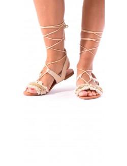 Sandales plates lacées à sequins