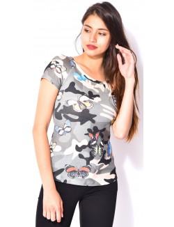 T-shirt camo à papillons