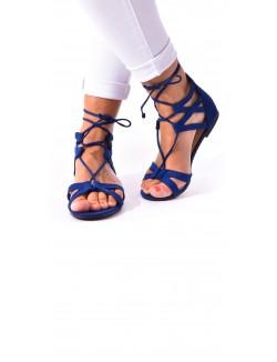 Sandales plates en suédine lacées