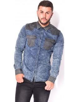 Chemise en jeans contrastate