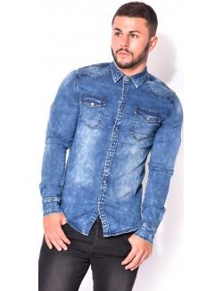 Chemise en jeans délavé
