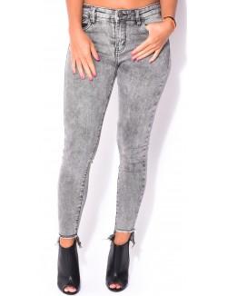 Jeans skinny gris destroy