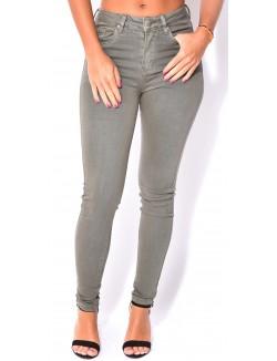 Jeans soft kaki taille haute