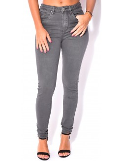 Jeans soft anthracite taille haute