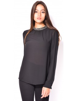 Blouse col montant à strass