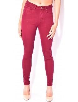 Jeans soft bordeaux taille haute