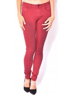 Jeans taille haute bordeaux