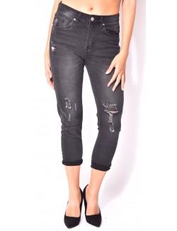 Jeans boyfriend noir destroy