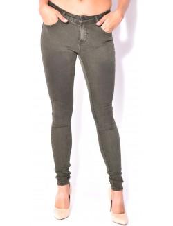 Jeans taille haute kaki