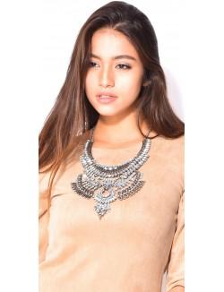 Grand collier à strass et cristaux