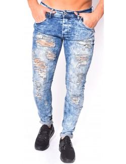 Jeans Homme Project X Bleu acide déchiré