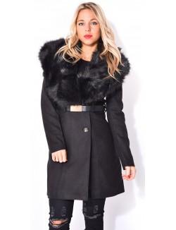Manteau mi-long à fourrure