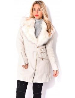 Manteau en cuir PU à fourrure
