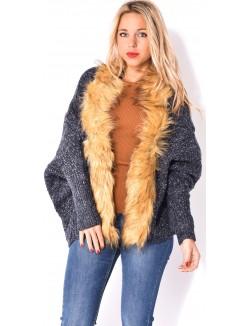 Gilet en laine chiné à fourrure