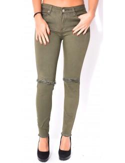 Jeans skinny kaki taille haute destroy