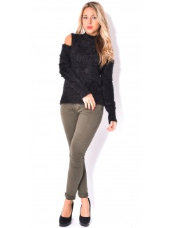 Jeans skinny kaki taille haute